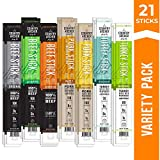 Meat Stick Variety Pack by Country Archer   Beef, Turkey, Pork   Grass-Fed   Antibiotic Free   Gluten Free   21 Count