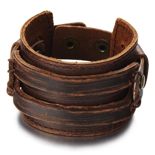 COOLSTEELANDBEYOND Metallic Brown Genuine Leather Wristband Mens Wide Leather Bracelet with Snap Button