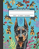 Composition Notebook: Doberman Pinscher Dog - Pet Animals Exercise Book & Journal , Back To School Gifts For Teens Girls Boys Kids Friends Students 8x10' 110 Pages