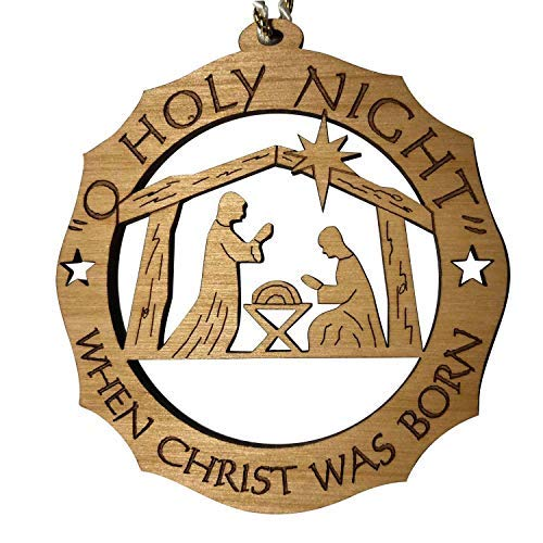 Jolette Designs Nativity Christmas Tree Ornament, Wooden Navity Scene Decorations, Jesus, Joseph, Mary Religious Gift, 3.25x3.25 Made in USA for Chrisma, Advent. O Holy Night to Worship and Adore Him