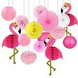 Himeland Seidenpapier Pompons 15 Stück, Flamingo Papierfächer Pompoms Laternen Hängende, Deko für Hochzeit Geburtstag Graduierung Taufe Kinder Party Weihnachten Halloween