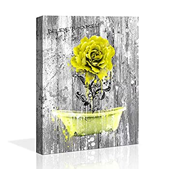 wall art for bathroom Picture yellow rose wood Wall Decor Painting Rural Home Decoration yellow Bath crock picture Nostalgic Wooden Artwork Watercolor Home Decor Bedroom Bathroom Wall art