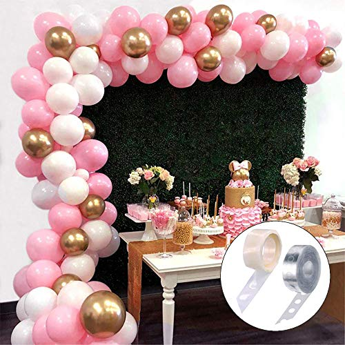 Balloon Garland Arch Kit 112pcs 16Ft Long Pink White Gold Balloons for Girl Birthday Baby Shower Bachelorette Party Centerpiece Backdrop Decorations