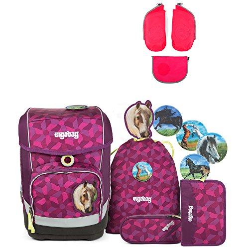 Ergobag Cubo NachtschwärmBär Schulrucksack-Set 5tlg + Seitentaschen ZIP-Set Pink