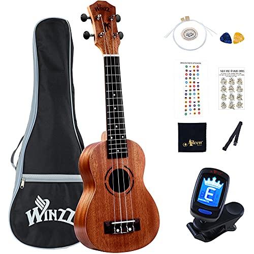 Winzz Soprano Ukelele de Caoba 21 Pulgadas con Cuerdas Aquila de Nylon Kit de Iniciación para Principiantes con Bolsa, Sintonizador, Cuerdas Extras, Correa, Púas y Otros Regalos