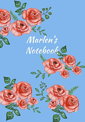 Marlens Notebook: Personalized Journal - Garden Flowers Pattern. Red Rose Blooms on Baby Blue Cover. Dot Grid Notebook for Notes, Journaling. Floral Watercolor Design with First Name