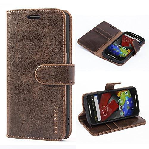 Mulbess Ledertasche im Ständer Book Case / Kartenfach für Motorola Moto G (2. Generation) Tasche Hülle Leder Etui,Vintage Braun