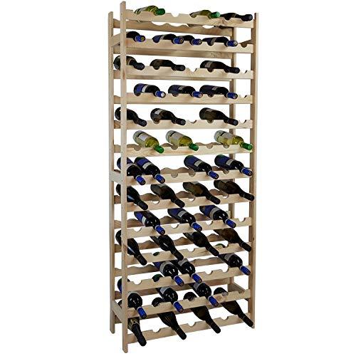 SunDeluxe Estante para Botellas de Vino Bacchus Basic en 3 tamaños Diferentes - Botellero Hecho de Madera de Pino para 36, 77 o 91 Botellas, Variante:77 Flaschen