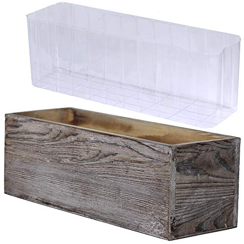 1 Pcs Wood Planter Box Rectangle Whitewashed Wooden Rectangular Planter with Inner Plastic Box - 11.5' L x 3.75' W x 3.75' H Floral Natural Centerpieces Rustic Wedding Decoration