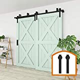 ZEKOO 4FT - 16FT Double Track Bypass Barn Door Hardware Kit Low Ceiling Wall Mount for Closet Double Wooden Doors (9FT Bypass kit)