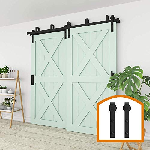 ZEKOO New Style 5 FT - 16 FT Bypass Sliding Barn Door Hardware Steel Track for Double Wooden Doors Closet Kitchen Kit Low Ceiling (6.6FT New Style Bypass kit)