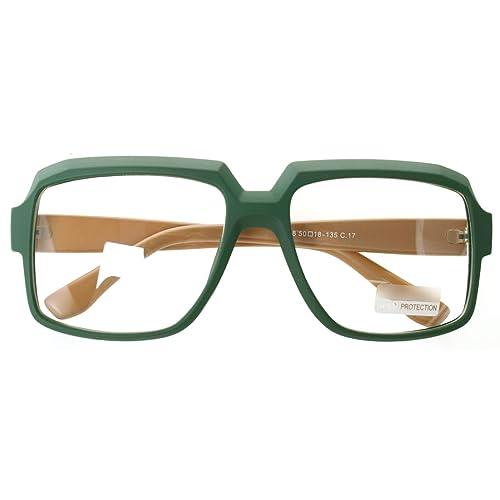 e68ff1fdd3 Oversized Square Thick Horn Rimmed Eyeglasses Vintage Inspired Geek Clear  Lens