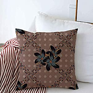Silk Flower Arrangements Throw Pillow Covers Colorful Silk Scarf Plumeria Flowers Pink Gray Nature Abstraction Arabian Colored Cosmos Damask Linen Square Pillow Case Car Couch Sofa Bedroom Decorations 16x16 Inch