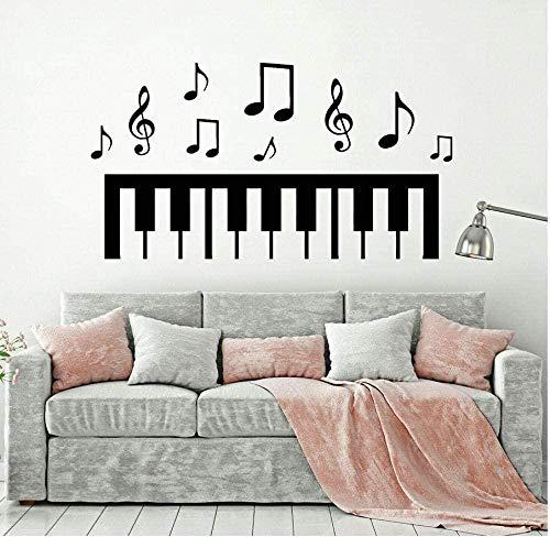 YFKSLAY Wandbild Klavier Wandtattoo Musiknoten Schwarz Weiß Kunst Schlafzimmer Wohnkultur Klavier Studio Musik Klassenzimmer Vinyl Aufkleber Fenster Wandbild 57 * 31Com