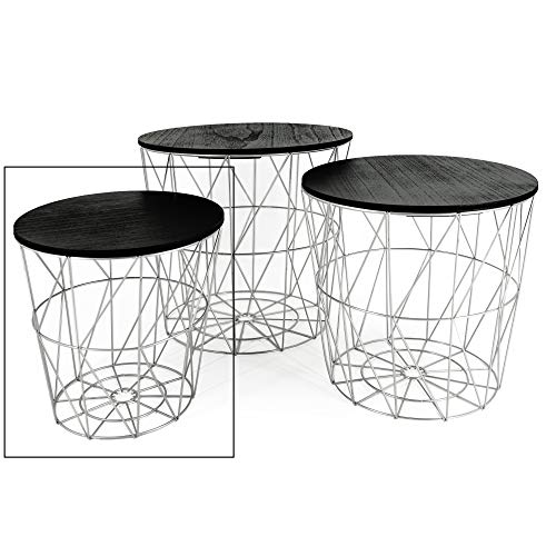 Meinposten. Beistelltisch Tisch mit Stauraum Couchtisch Korb Metall Holz Silber grau schwarz Nachttisch (Klein: Ø 29 x H 30 cm)
