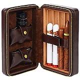 Cigar Box - Cigar Box Portable Cigar humidor Leather Cigar Set Cigar Cut