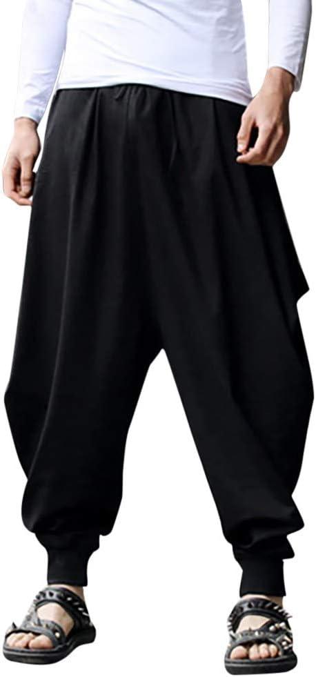 Alueeu Men S Hippie Harem Pantalones Sueltos De Moda Pantalones De Los Hombres Pantalones De Algodon Lino Festival Baggy Solido Retro Gitano Pantalones Amazon Com Mx Ropa Zapatos Y Accesorios