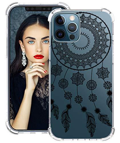 Disney - Carcasa para iPhone 12 Pro Max de silicona, antigolpes, transparente, diseño de flor