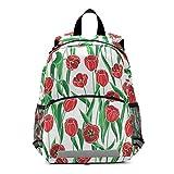Mnsruu Kinderrucksack, rote Tulpen, Schultasche für Kindergarten Vorschule Kleinkind Reisetasche Büchertasche