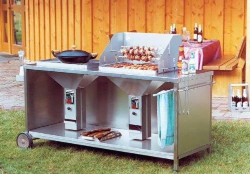 fahrbare exklusive Duo-Grillstation mit 2 THÜROS II Grilleinsätzen Edelstahl