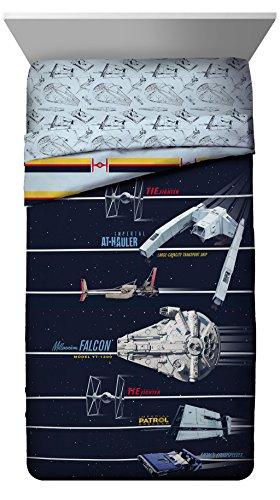 STAR WARS Han Solo Vehicle Stripe Twin Comforter, 164 x 218 cm, Azul