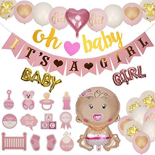 Ulikey Baby Shower Decoración, Baby Shower Globos, Decoraciones Fiesta de Bienvenida de Bebé Niña, Decoración de Baby Shower para Niñas, Accessorios Baby Shower
