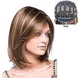 Meisi Hair Bobo Mixture Perruque pour femme en cheveux synthétiques courts et résistants à la chaleurCarré, coloris brun/blond doré