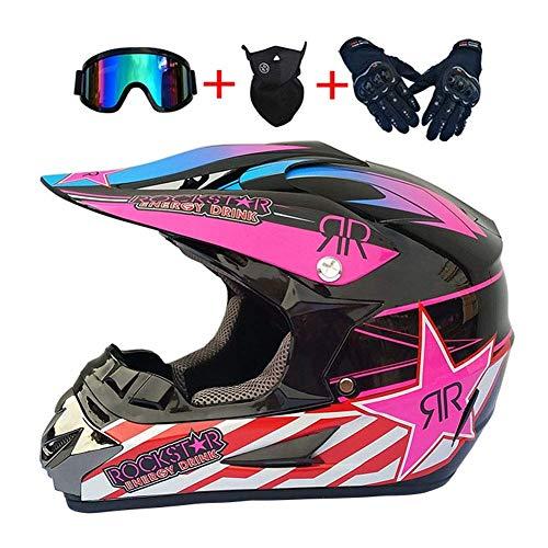 NNYY Cascos De Motocross, Rosa/Rockstar Casco De Moto Set con Gafas/Guantes/Máscara, Full-Face...