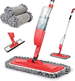 Bellababy Spray Mop and Glass Wiper,Microfiber Mop with 4 Reusable Pads Can Spray Upward,360 Degree Rotatable Mophead Suitable for Hardwood, Marble, Tile(Red)