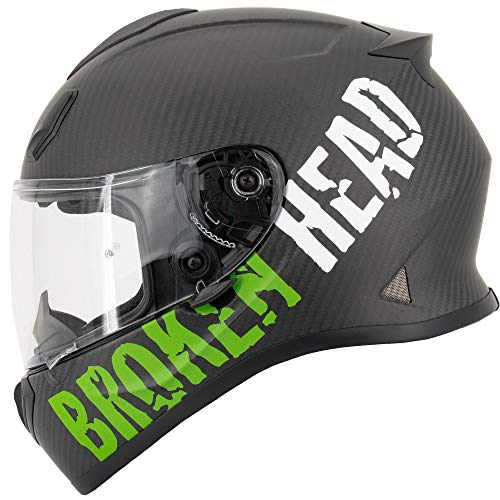 Broken Head BeProud Carbon Ltd. - Leichter Racing Motorradhelm & Integralhelm - Matt-Schwarz & Grün - S (55-56 cm)