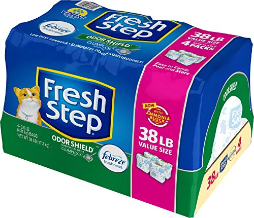 Fresh Step Odor Shield Scented Litter with The Power of Febreze, Clumping Cat Litter, 38 lb