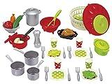 Jouets Ecoiffier – 2621 - Set de cuisine pour enfants 100 % Chef – Viande, légumes et ustensiles de cuisine – 47 pièces – Dès 18 mois – Fabriqué en France