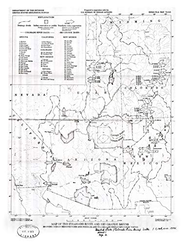 Historic Pictoric Map : Map of The Colorado River and Rio Grande basins Showing Indian Reservations and pueblos and transbasin exportations of Water, 1974 Cartography Wall Art : 18in x 24in