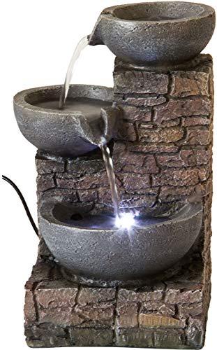 Nativ Zimmerbrunnen mit LED-Beleuchtung, Indoor-Brunnen aus Polyresin mit Pumpe und Beleuchtung