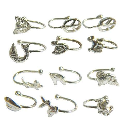 IB Lot de 12 Anneaux Boucles Nasales de Motifs différents Piercing Pince-Nez Accessoire