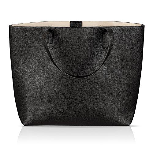 Winter & Co. Damen Handtasche Shopper Leder (vegan) - Aktentasche elegant groß - Wandelbares Design - Für A4 Ordner - Ideal für Schule Uni Büro und Freizeit (schwarz)