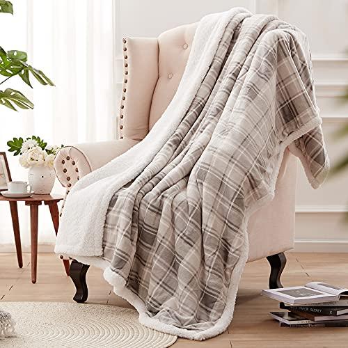 SEDONA HOUSE Sherpa Fleece Plaid Throw Blanket, Thick Plush Warm Blanket Fuzzy Cozy Soft Blanket for Sofa Bed Travel, 60'x80', Grey