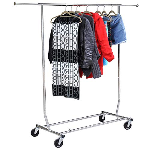 Yaheetech Commercial Clothing Garment Rack Single Rail Clothes Hanger Freestanding Collapsible Folding Adjustable Heavy Duty Rolling Multi-Functional Expandable Clothes Storage w Shelfs on Wheels