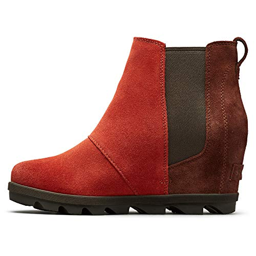 Sorel - Women's Joan of Arctic Wedge II Chelsea, Leather or Suede Ankle Boot, Carnelian Red, 8 M US