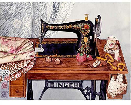 Digitale schilderset voor volwassenen, naaimachine, vintage, schilderen, abstract, knutseldoek, geschikt voor kinderen of volwassenen, SDHJMT 16x20inch