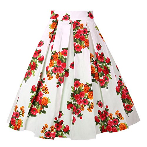 OBBUE Dresstore Vintage Pleated Skirt Floral A-line Printed Midi Skirts with Pockets Flowers-White-XL