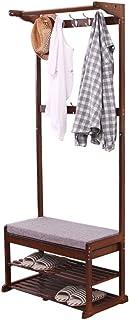 Shoe Rack Shoe Rack,Coat Racks Bamboo Multifunction Storage Floor Coat Bench Change Shoe Bench Hall Clothes Hanger Shoe Or...