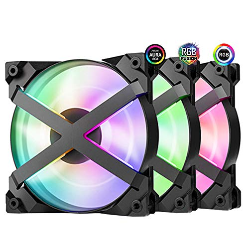 VIVITG 120GT Ventilador de Caja Enfriador 3 en 1 Bucle Doble Direccionable RGB Encendiendo 5 v / 3 Pines Argb Ordenador Caso UPC Enfriamiento Ventilador, (3 Paquetes)