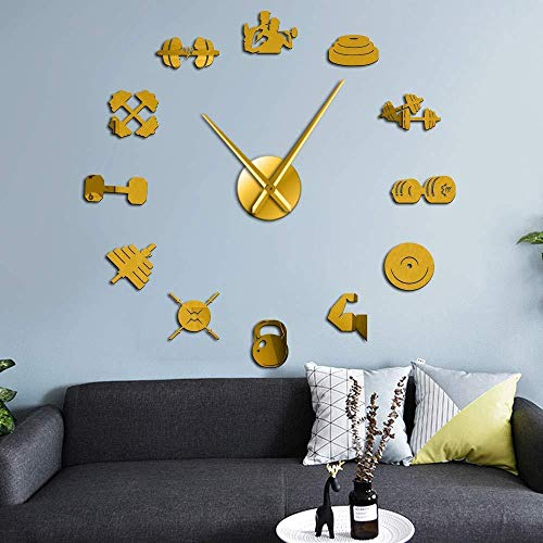 DIY wandklok sport apparatuur muur kunst Sticker Fitness Dumbbell Giant muur klok frameloze grote muur tafel oefening Trainer Gift 37 inch goud