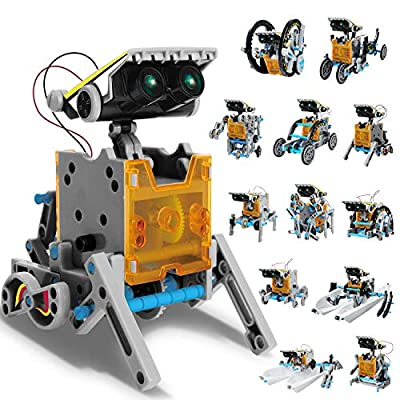AOKESI Solar Robot Kit 12-in-1 Science STEM Robot Kit Toys for Kids Aged 8-12 and Older, Science Building Blocks Set Gifts for Boys Girls, Educational DIY Assembly Robot Kit with Unique Green Eyes