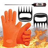 MightyGlovez Grill Silicone BBQ-Gloves Extreme Heat Resistant Gloves with Digital Thermometer and Meat Claws for Cooking and BBQ-Accessories (3 Sets)