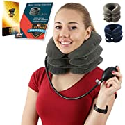 Cervical Neck Traction   Air Neck Therapy   Adjustable Neck Stretcher Collar Device   Cervical Collar for Neck Support and Decompression - Neck Pain Relief (Grey)