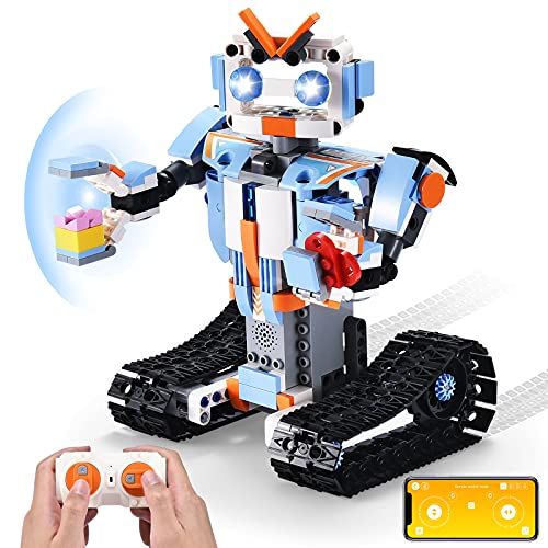 OMWay Remote Control Robot Building Toys Kit, STEM Projects for Kids Ages 8-12, Christmas Birthday Gifts for Boys Girls, RC Toy Erector Set, Remote & App Controlled Figures & Robotic Toys for Teens