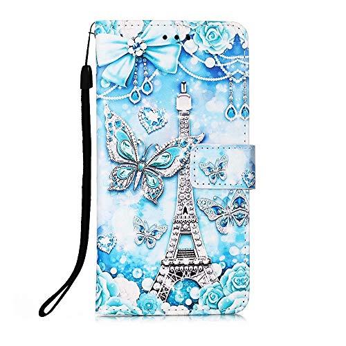 Nadoli Leder Hülle für Samsung Galaxy A21S,Bunt Turm Schmetterling Malerei Ultra Dünne Magnetverschluss Standfunktion Handyhülle Tasche Brieftasche Etui Schutzhülle