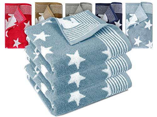Dyckhoff Frottierserie aus dem Hause 3er-Pack Handtücher oder EIN Duschtuch - Elegantes Streifendesign kombiniert mit Sternen - geprüfte Qualität, 3er Pack Handtücher [50 x 100 cm], hellblau